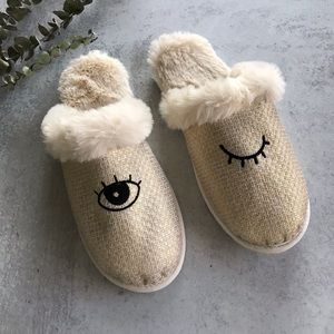 Furry Mule Winking Eye Slide Slippers 11 / XL